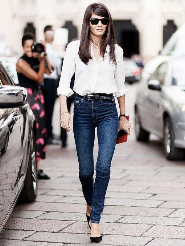 high waist jeans street style