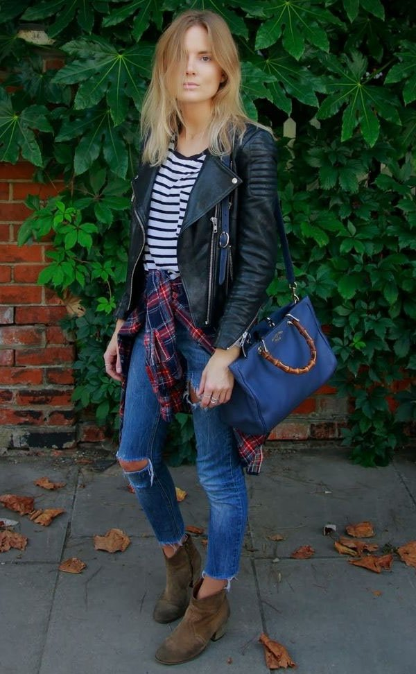 Street-style-plaid-shirt-jeans-leather