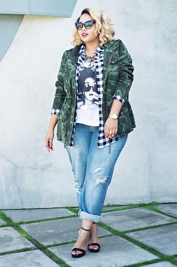 Street-style-plaid-shirt-military