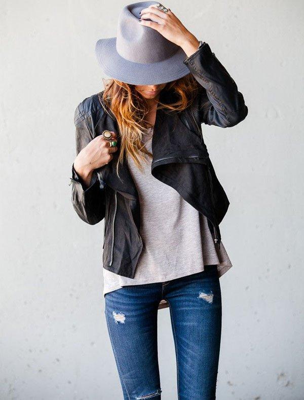 jaqueta-couro-jeans-t-shirt-chapeu-look-final-de-semana