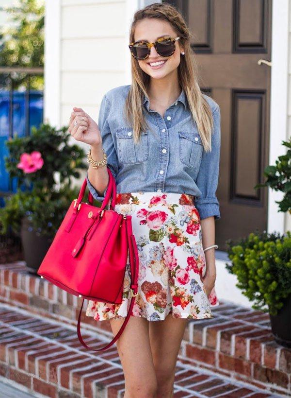 street-style-saia-floral-camisa-jeans-estilo-romantica[