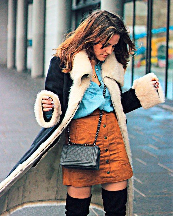 jeans + saia botão