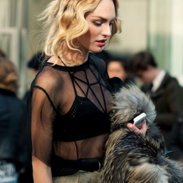 Candice Swanepoel Street Style Strappy Bra