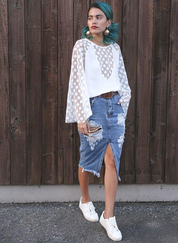 Top 7 Looks com Saia Midi Jeans » STEAL THE LOOK BN66