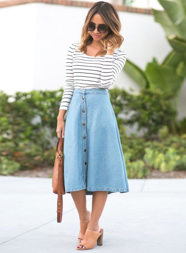 Suficiente 7 Looks com Saia Midi Jeans » STEAL THE LOOK SE17