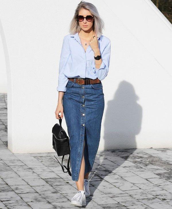 Fabuloso 7 Looks com Saia Midi Jeans » STEAL THE LOOK VS82