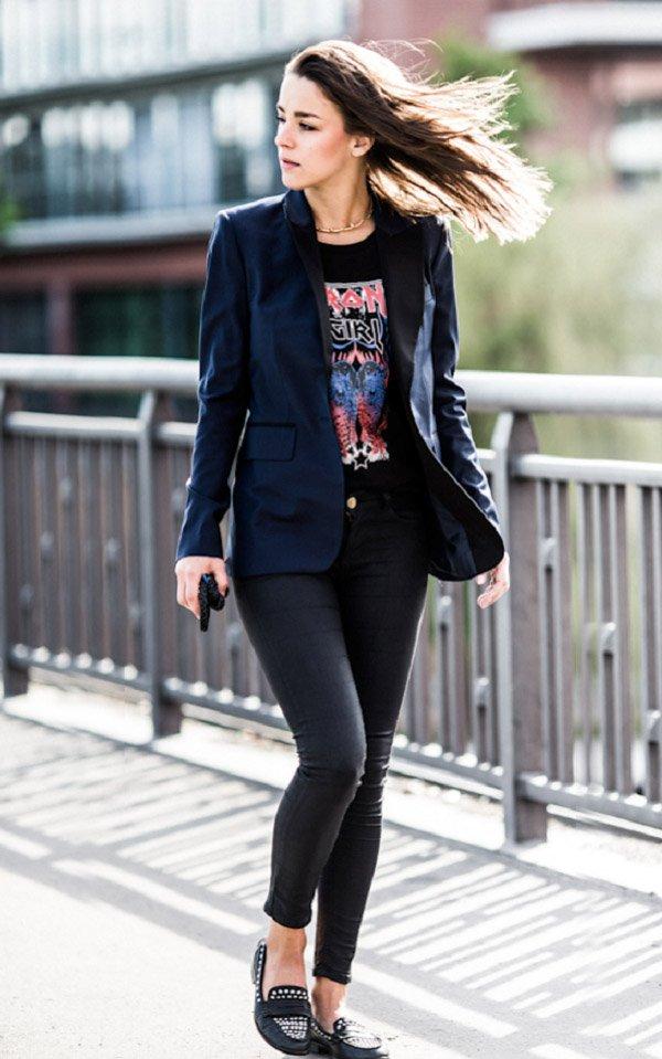 blazer street style t-shirt