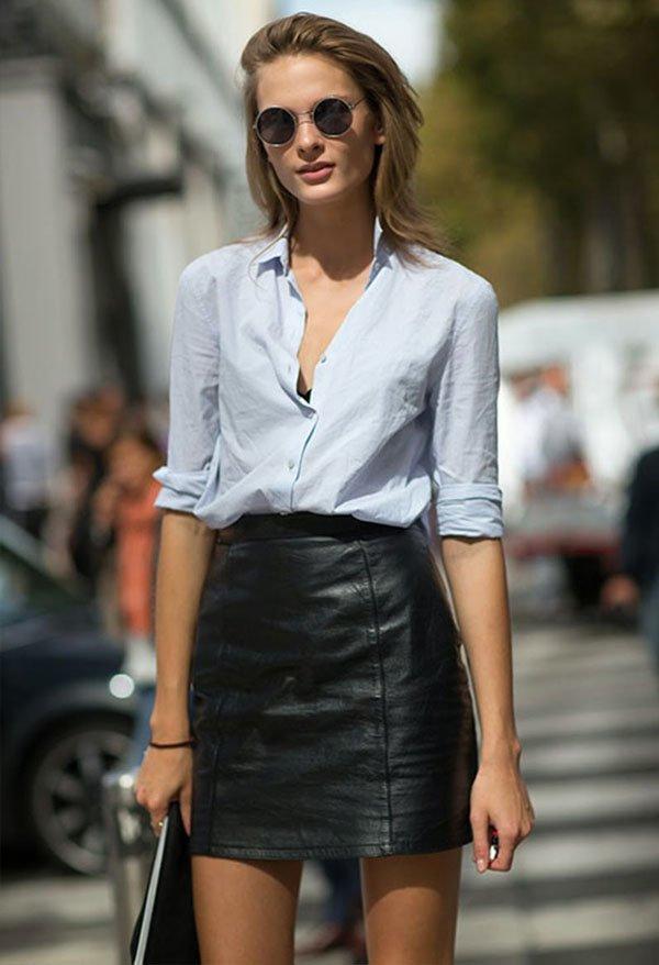 street-style-leather-skirt-white-shirt-sunglasses