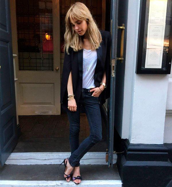 street style t-shirt blazer jeans