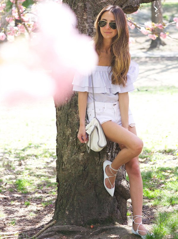Shorts Jeans Street Style Lace Up Shoes