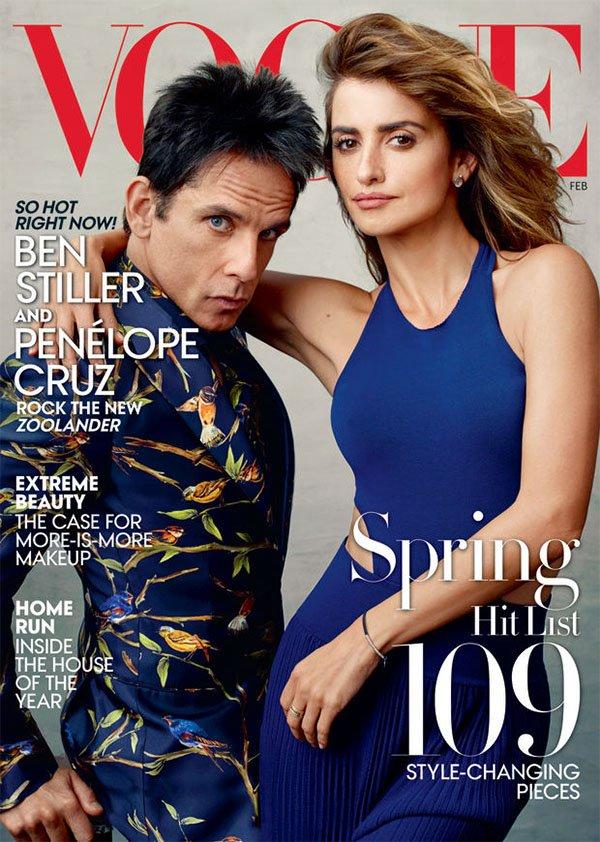 Ben Stiller e Penelope Cruz na capa da Vogue como Zoolander