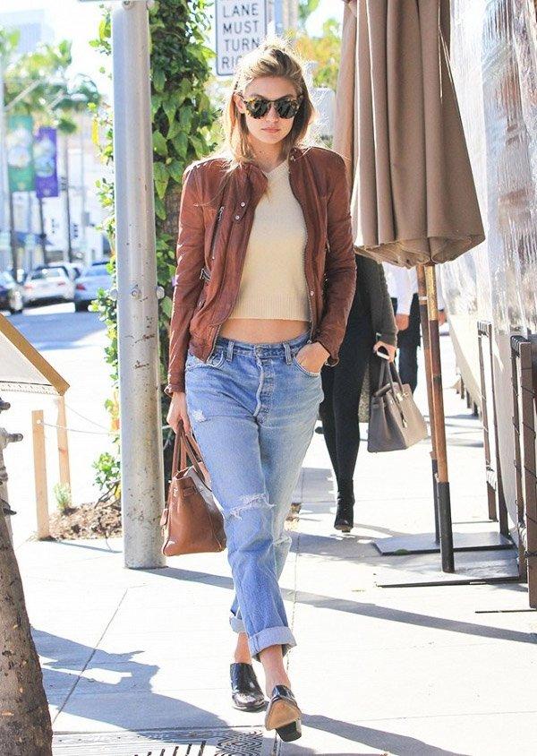 Gigi Hadid Street Style Boyfriend Jeans