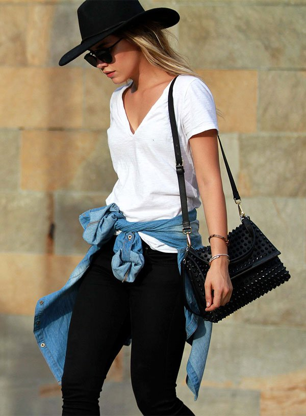 look black and white camisa jeans