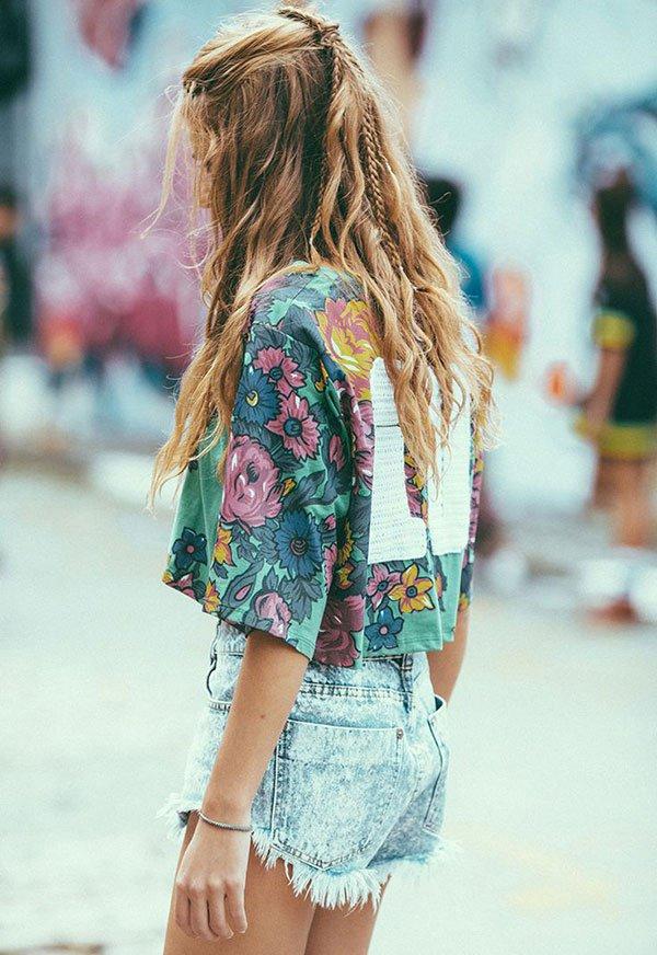 look festival t-shirt floral short jeans