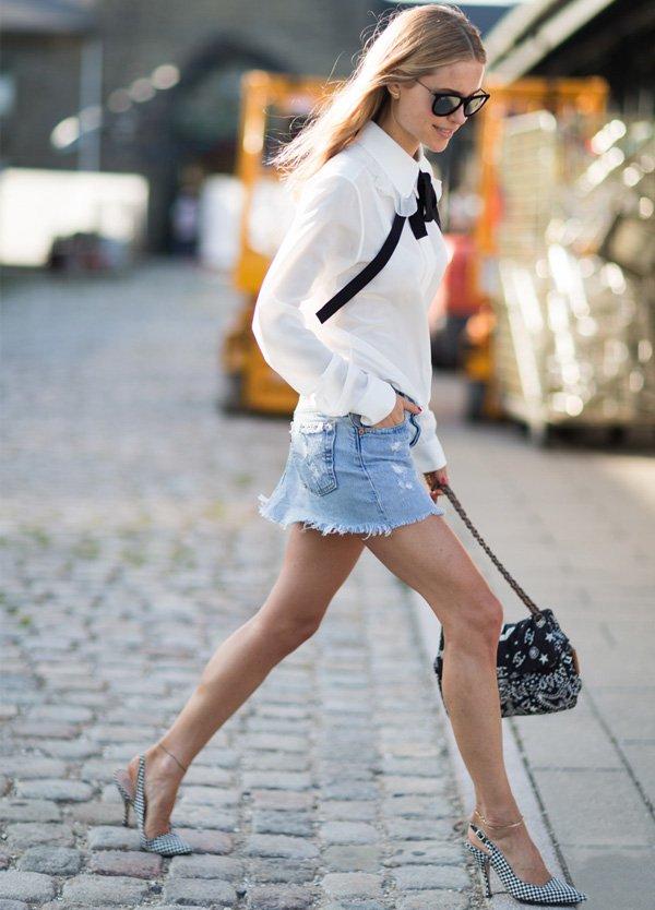 pernille teisbaek look saia jeans camisa