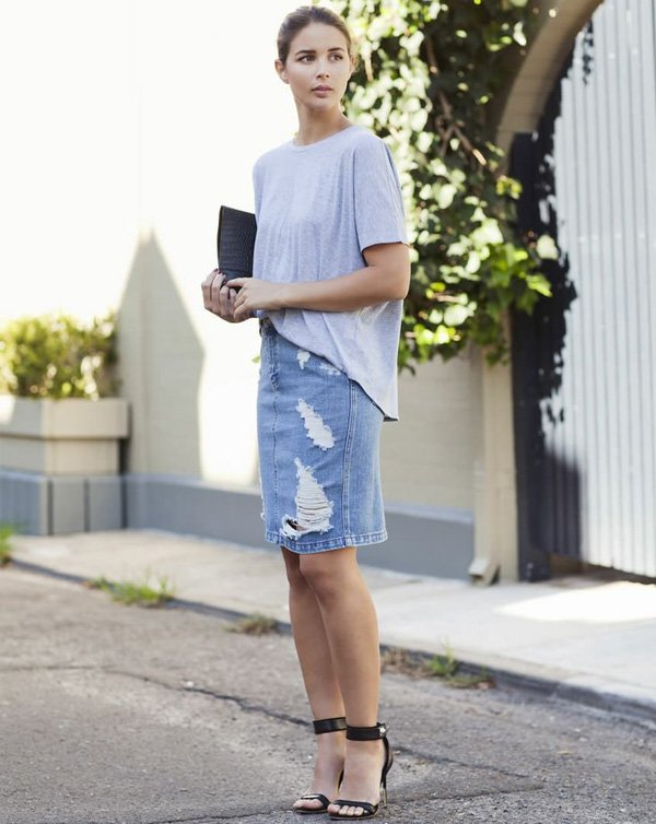 saia jeans midi street style