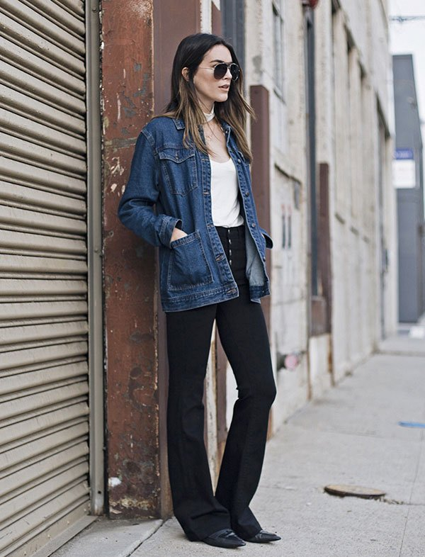 brittany xavier look black flare denim jacket