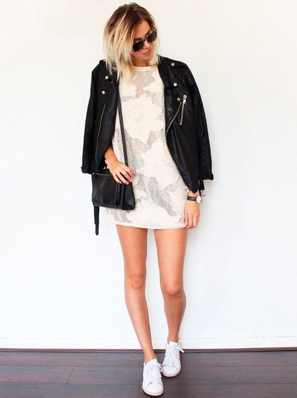 Jaqueta de Couro Preta Vestido Mini Branco
