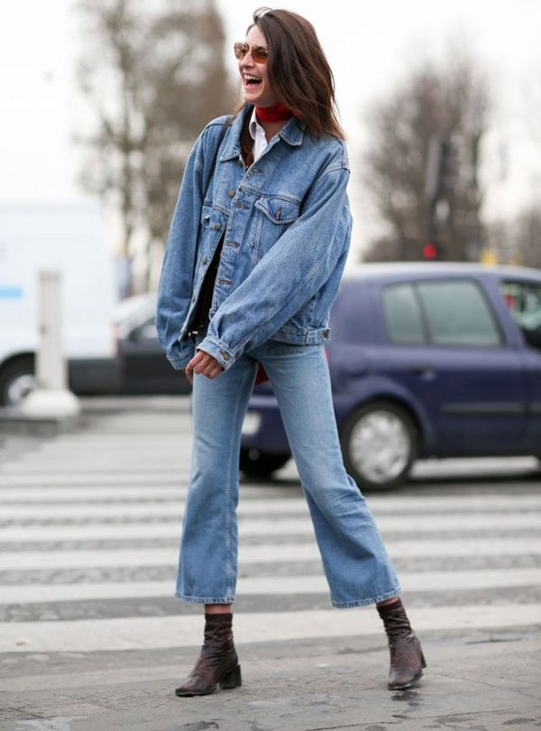 look cropped flare jeans jacket jeans