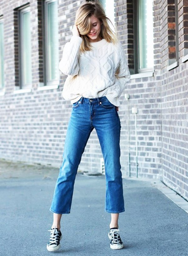 look flare jeans sweater