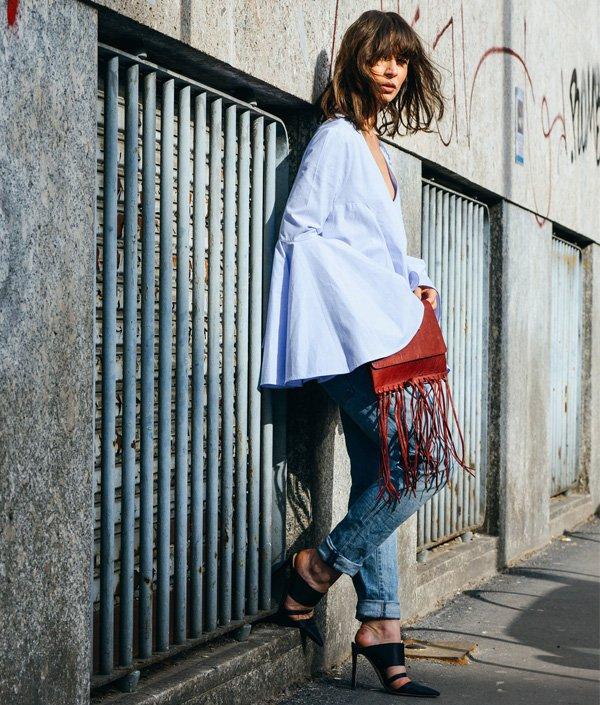 look manga bufante calça jeans bolsa