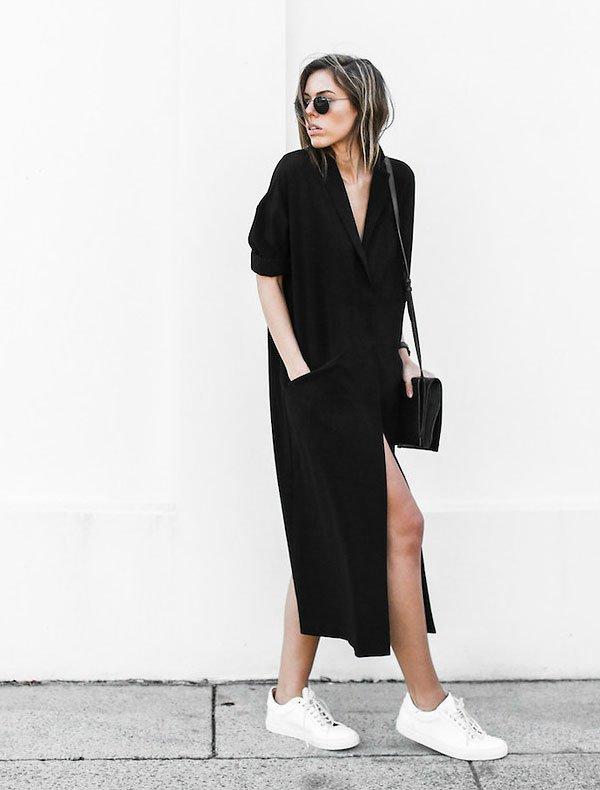 look total black street style