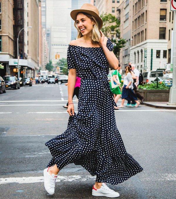 Vestido Longo Chapéu Street Style