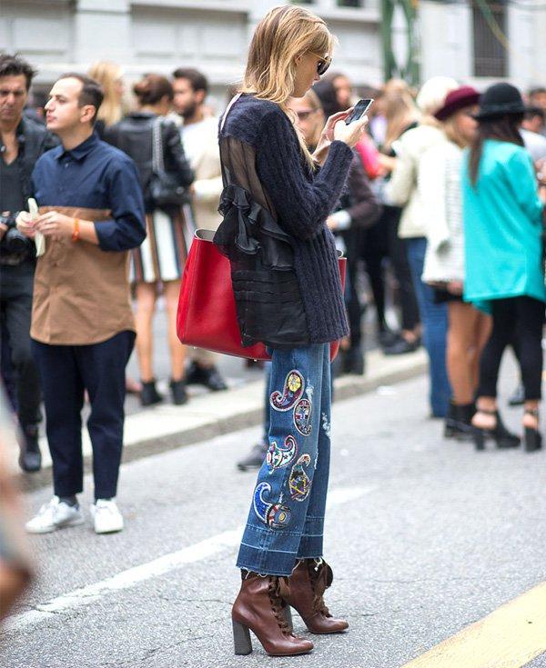 calça jeans embroidery denim street style