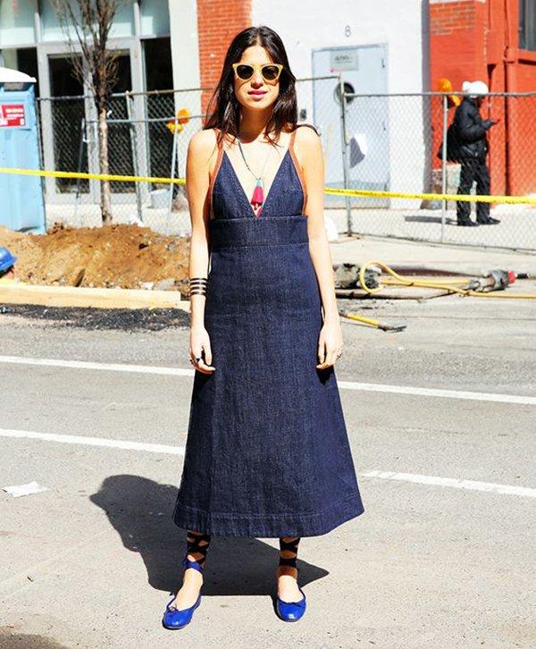 Vestido Jeans De Alça Sem Salto Street Style Estilo Verao