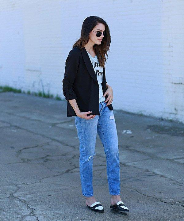 mule flat blazer jeans
