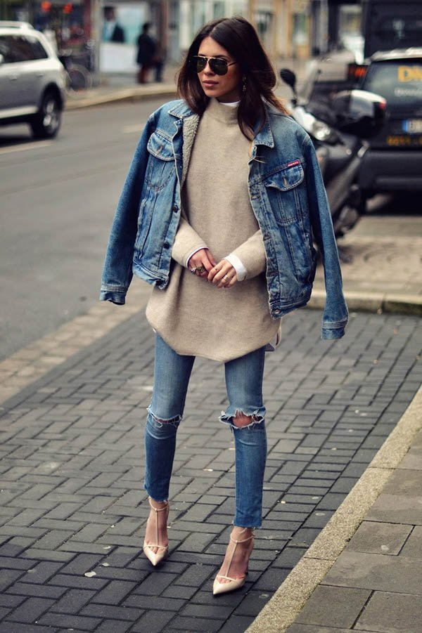 jeans com jeans street style