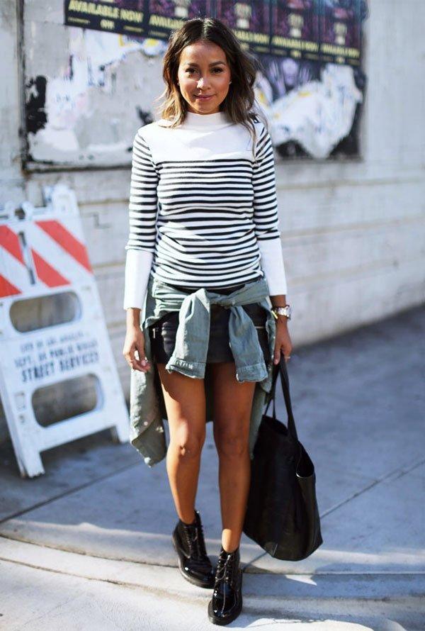 julie sarinana turtleneck stripes street style