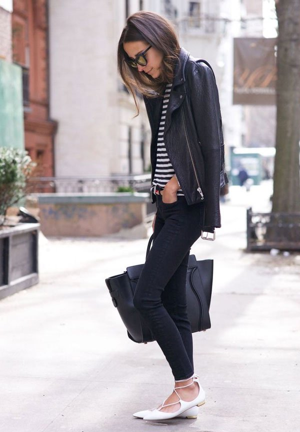 look all black lace up flats