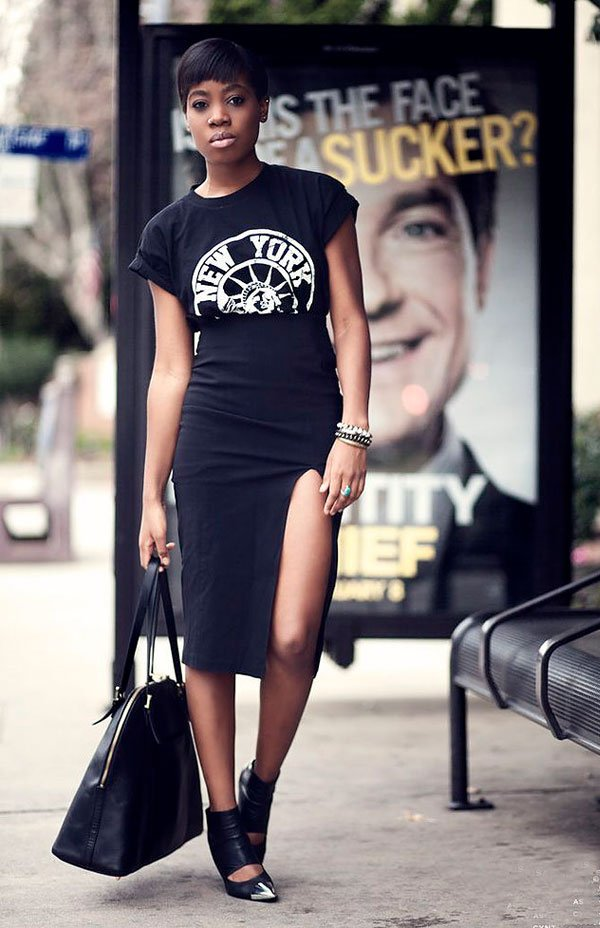 look all black pencil skirt t-shirt