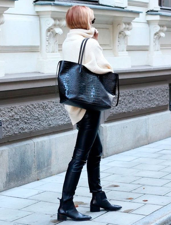 look chunky knit ankle boots street style