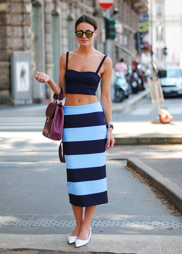 look crop top pencil skirt flat