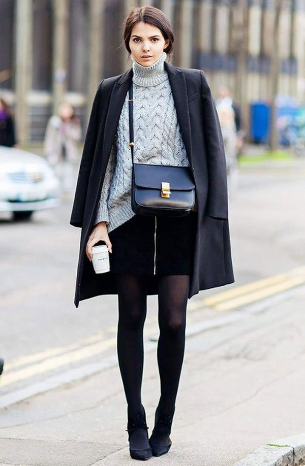 look grey turtleneck skirt black