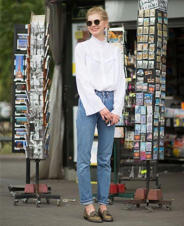 mom jeans white blouse
