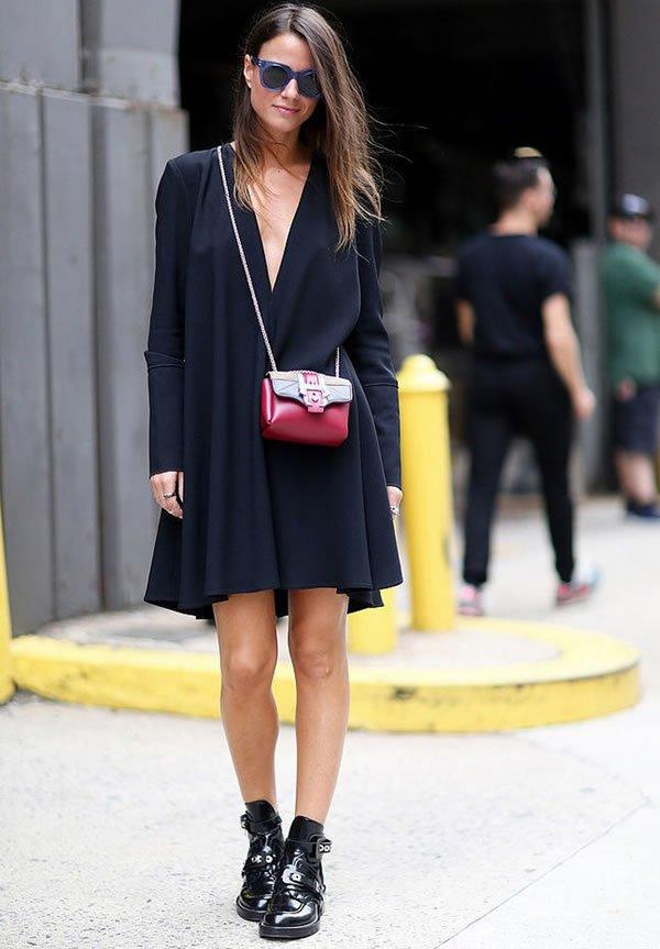 vestido preto bota verniz