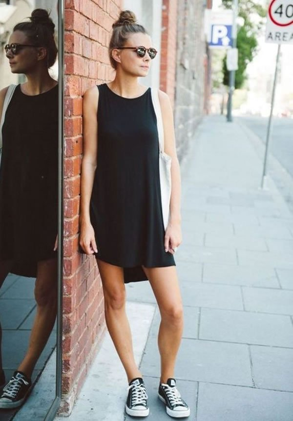 vestido preto converse