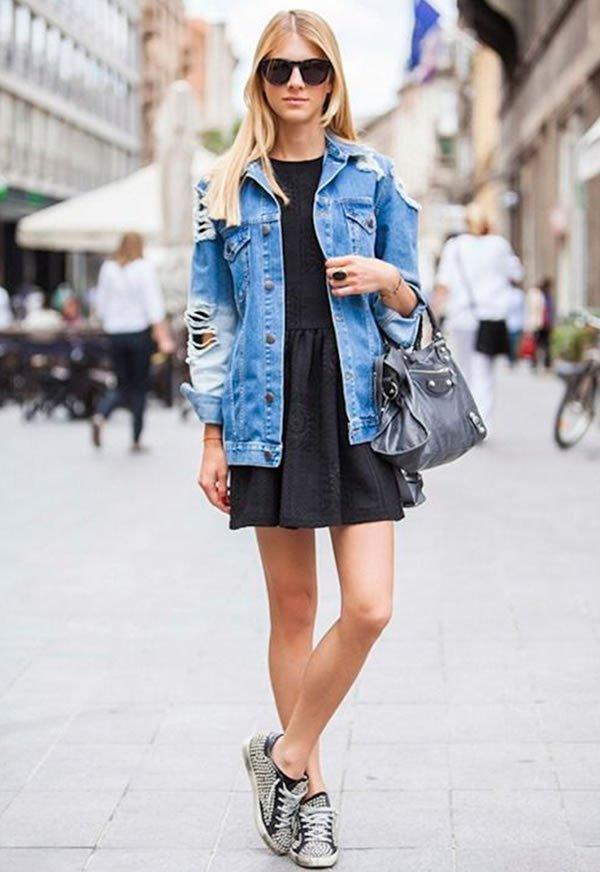vestido preto jaquetta jeans