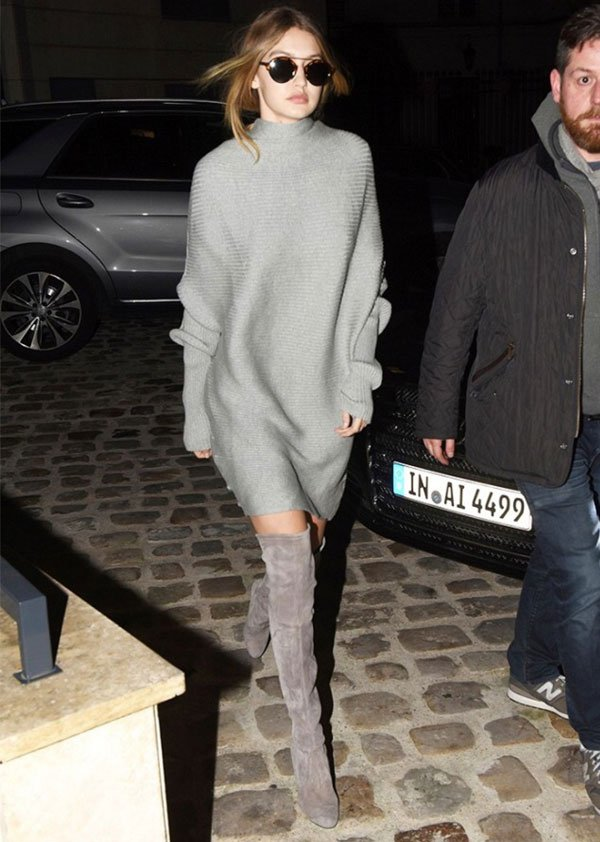 gigi hadid sweater dress over the knee street style