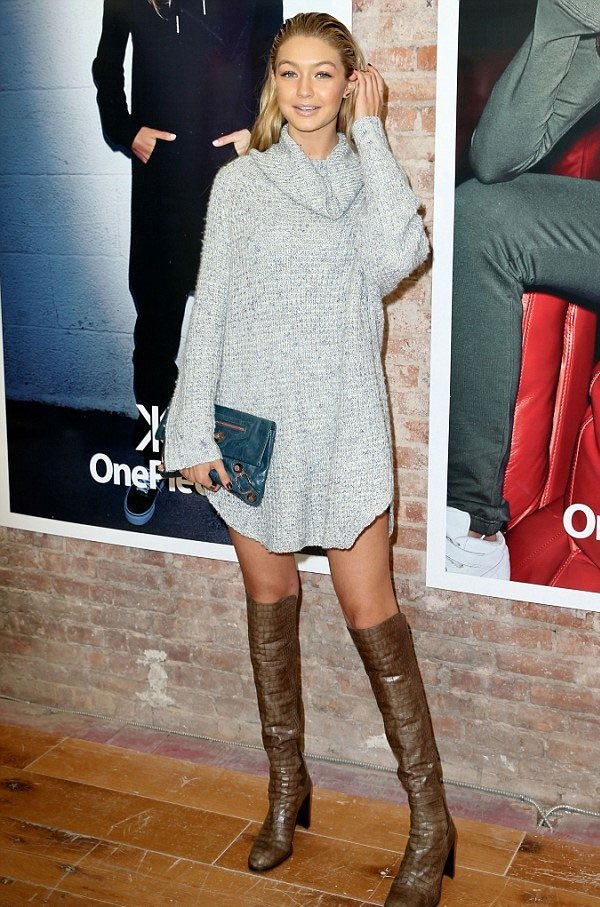 gigi hadid turtleeck sweater dress over the knee street style