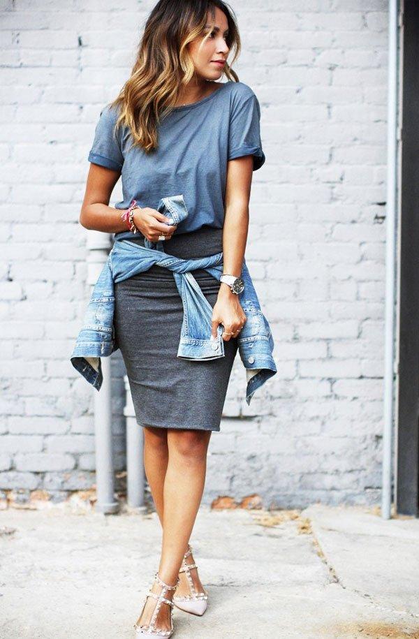 julie sarinana look pencil skirt t-shirt denim jacket