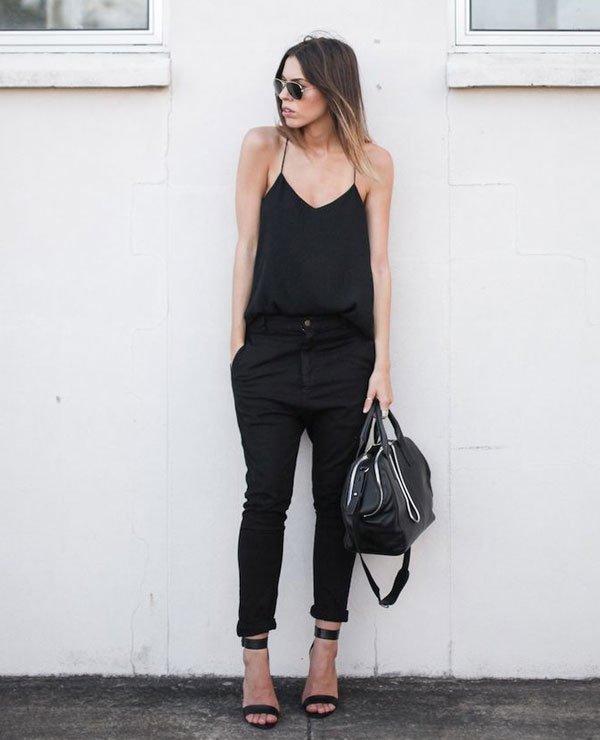 look all black street style