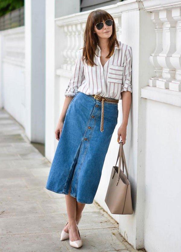 look denim skirt buttons