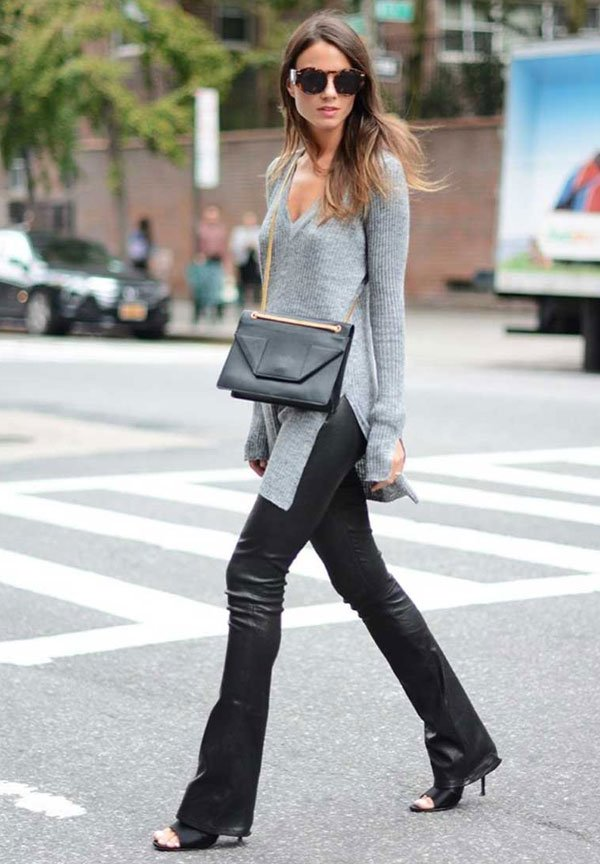look grey knit leather black pants