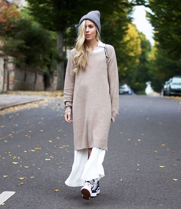 look long sweater dress street style
