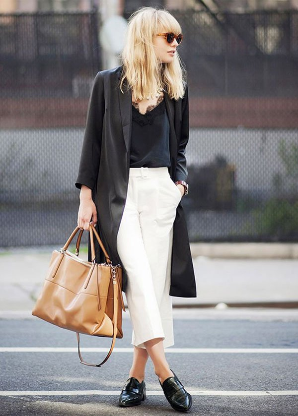 look white culotte black top