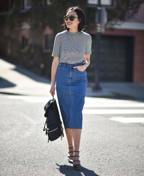 Saia midi jeans » STEAL THE LOOK